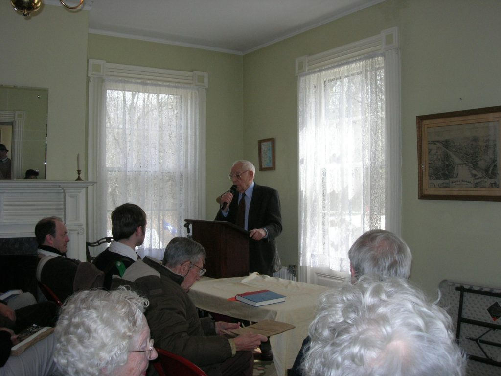 """Author/Historian John Cunningham signing and speaking about his book """"The Uncertain Revolution"""" during the Battle of Bound Brook event at the Staats House, April 2008"""