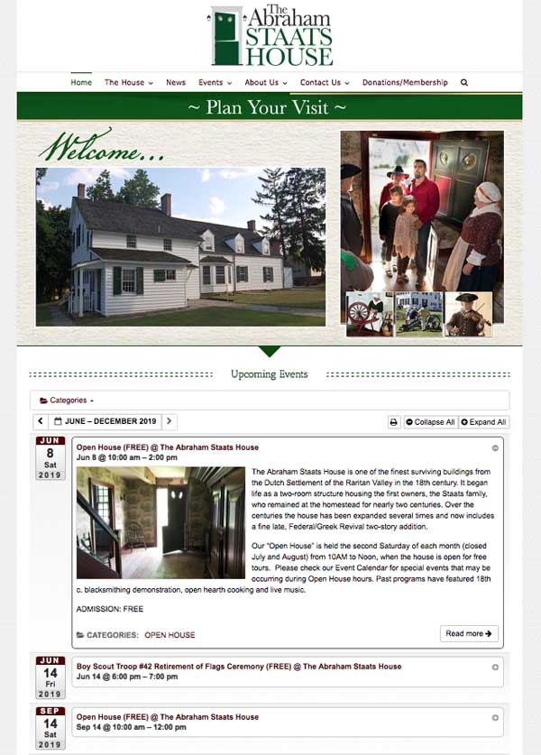New Website for The Abraham Staats House.