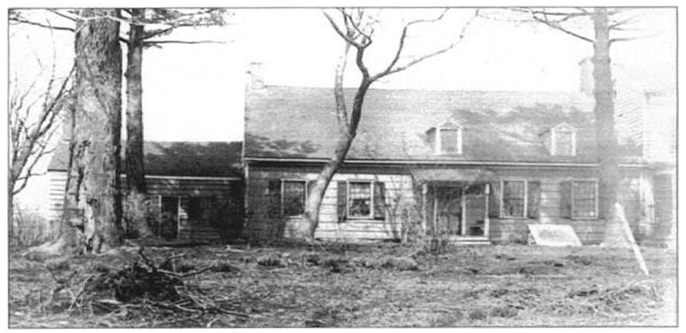 Photograph: 2. This c. 1880 photograph shows the front facade before the LaTourettes replaced the small dormers with large shed dormers. It also shows the door to the Kitchen Wing in its original location, on the front of the house. Cornelius LaTourette, Florence LaTourette and son Eugene LaTourette lived in the house in 1880. Rutgers Special New Jersey Collection.